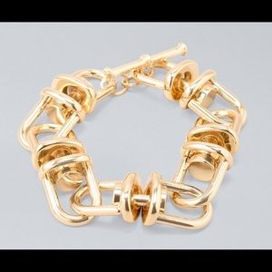 WHBM Gold Link & Bolt Toggle Bracelet - NWT